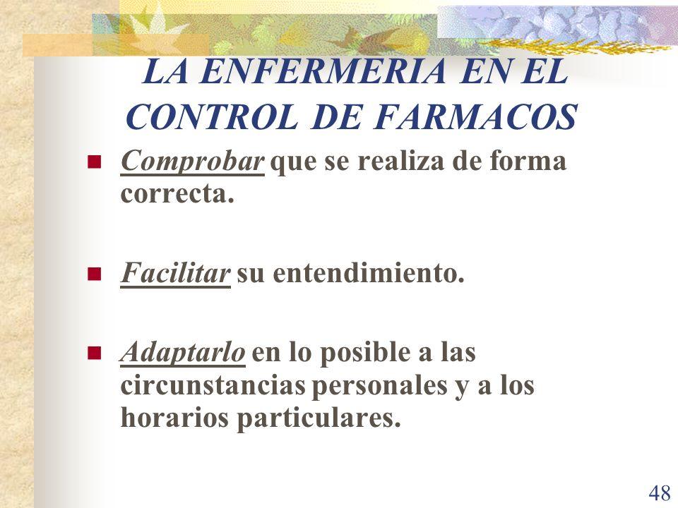 48 LA ENFERMERIA EN EL CONTROL DE FARMACOS Comprobar que se realiza de forma correcta. Facilitar su entendimiento. Adaptarlo en lo posible a las circu