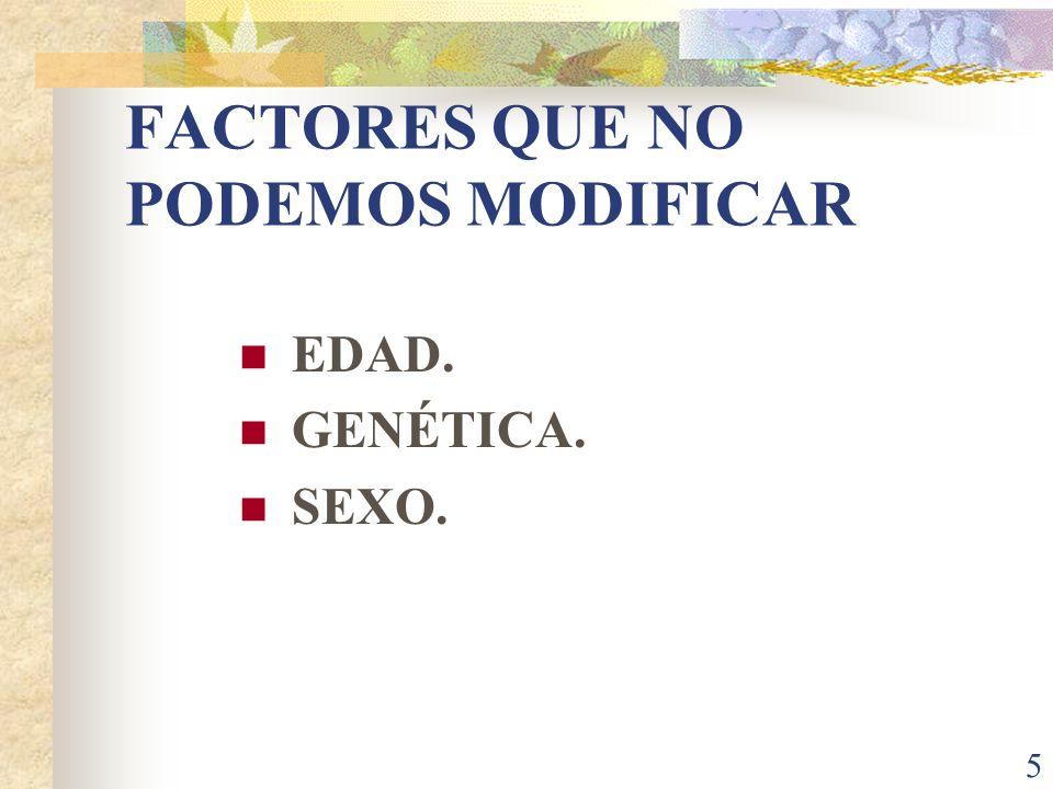 5 FACTORES QUE NO PODEMOS MODIFICAR EDAD. GENÉTICA. SEXO.