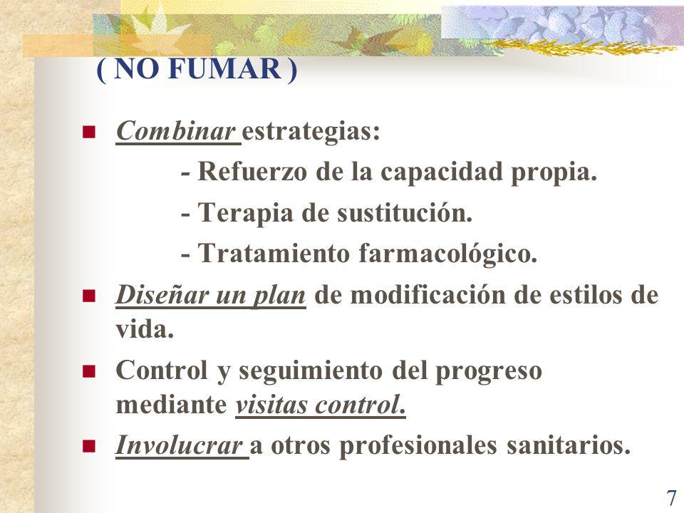 7 ( NO FUMAR ) Combinar estrategias: - Refuerzo de la capacidad propia. - Terapia de sustitución. - Tratamiento farmacológico. Diseñar un plan de modi