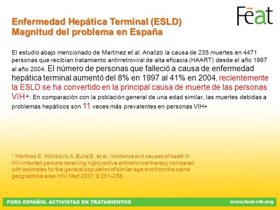 Enfermedad Hepática Terminal (ESLD) Magnitud del problema en España El estudio abajo mencionado de Martínez et al. Analizó la causa de 235 muertes en