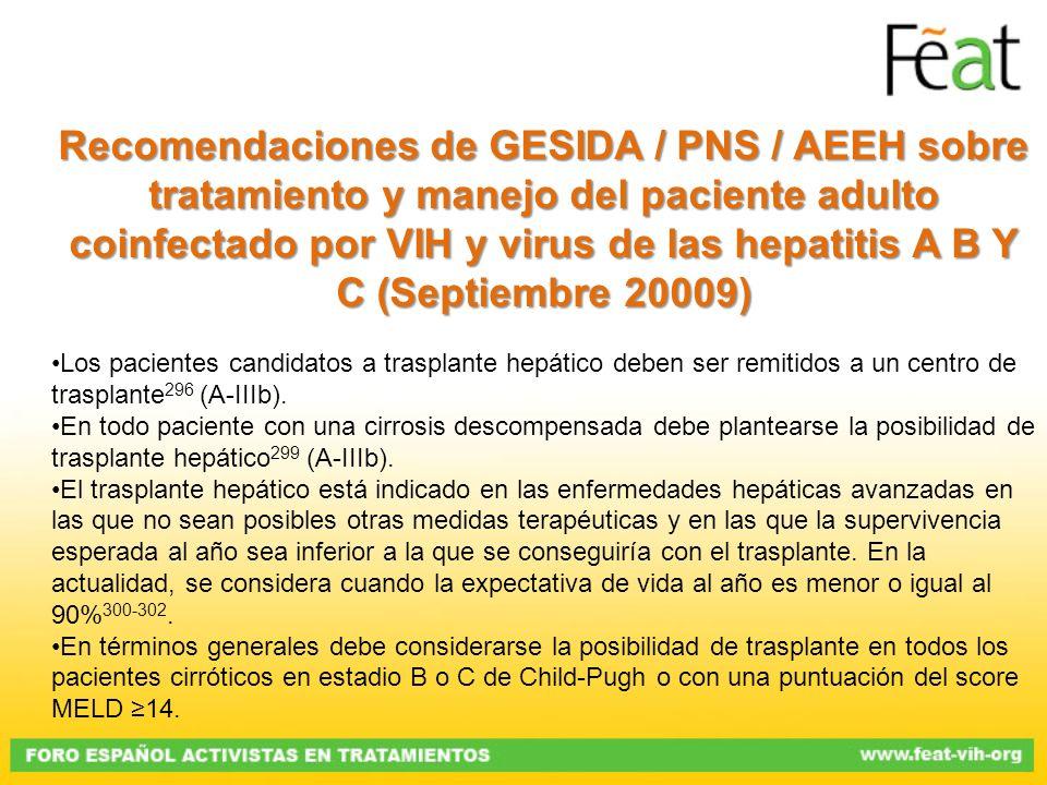 RecomendacionesdeGESIDA / PNS / AEEHsobre tratamiento y manejo del paciente adulto coinfectado por VIH y virus de las hepatitis A B Y C (Septiembre 20