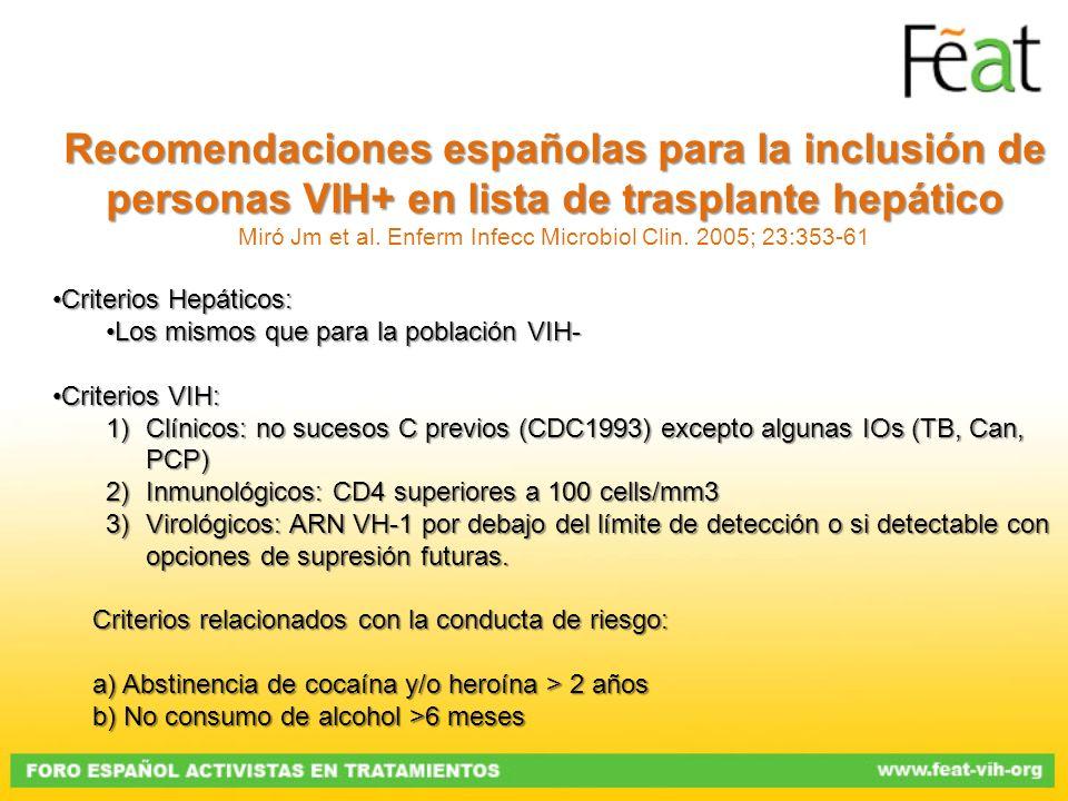 Recomendaciones españolas para la inclusión de personas VIH+ en lista de trasplante hepático Miró Jm et al. Enferm Infecc Microbiol Clin. 2005; 23:353