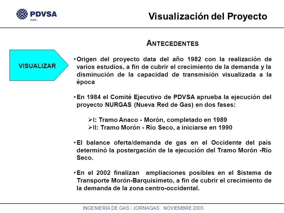 GAS INGENIERÍA DE GAS / JORNAGAS, NOVIEMBRE 2003 Visualización del Proyecto VISUALIZAR A NTECEDENTES Origen del proyecto data del año 1982 con la real