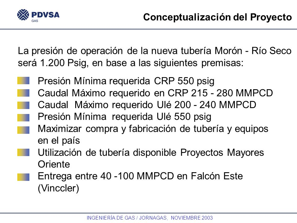 GAS INGENIERÍA DE GAS / JORNAGAS, NOVIEMBRE 2003 Conceptualización del Proyecto Presión Mínima requerida CRP 550 psig Caudal Máximo requerido en CRP 2