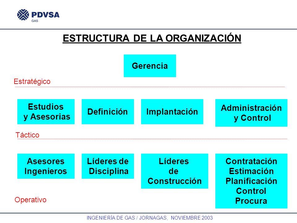 GAS INGENIERÍA DE GAS / JORNAGAS, NOVIEMBRE 2003 ESTRUCTURA DE LA ORGANIZACIÓN Gerencia Estratégico Estudios y Asesorias DefiniciónImplantación Admini