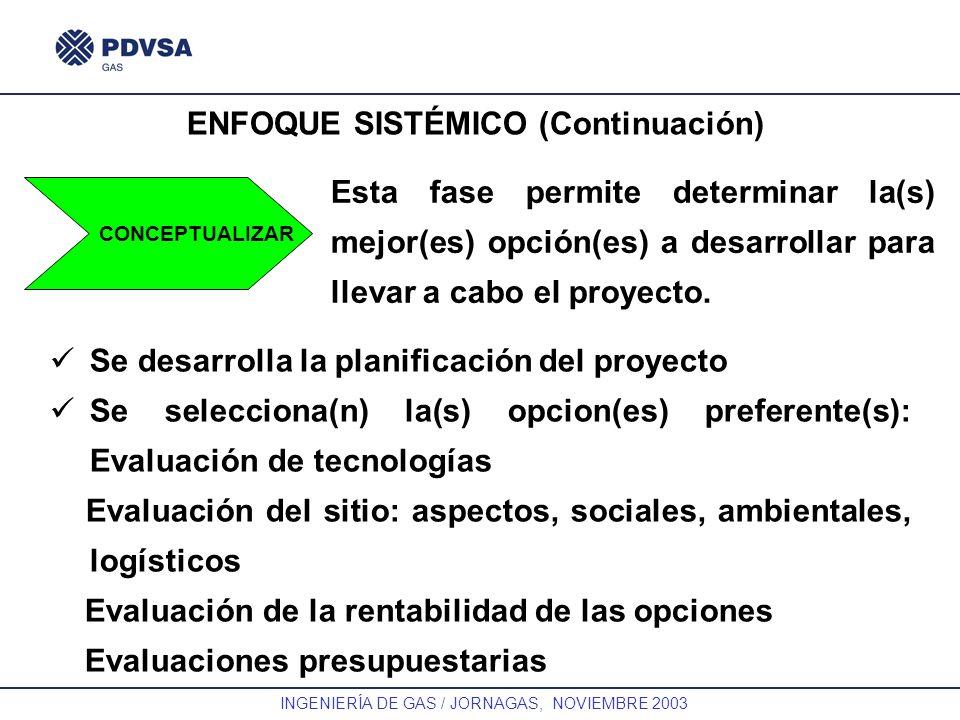 GAS INGENIERÍA DE GAS / JORNAGAS, NOVIEMBRE 2003 ENFOQUE SISTÉMICO (Continuación) CONCEPTUALIZAR Esta fase permite determinar la(s) mejor(es) opción(e