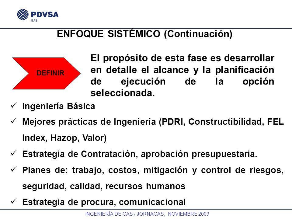 GAS INGENIERÍA DE GAS / JORNAGAS, NOVIEMBRE 2003 ENFOQUE SISTÉMICO (Continuación) DEFINIR El propósito de esta fase es desarrollar en detalle el alcan