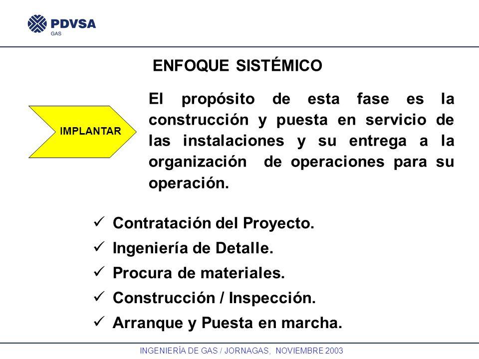 GAS INGENIERÍA DE GAS / JORNAGAS, NOVIEMBRE 2003 ENFOQUE SISTÉMICO IMPLANTAR El propósito de esta fase es la construcción y puesta en servicio de las