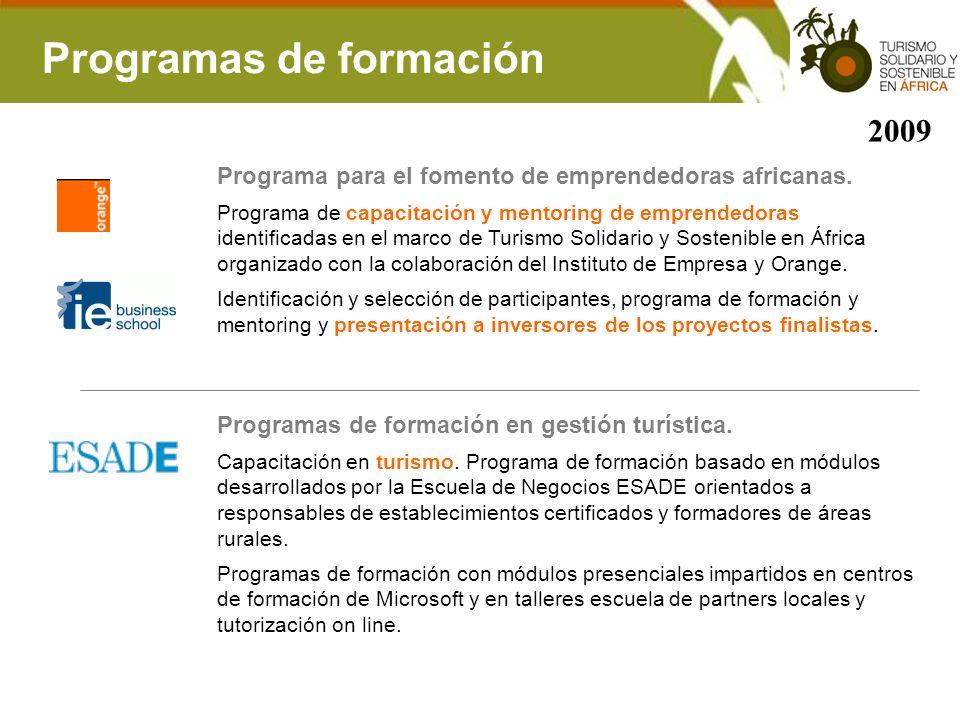 Programas de formación Programa para el fomento de emprendedoras africanas. Programa de capacitación y mentoring de emprendedoras identificadas en el