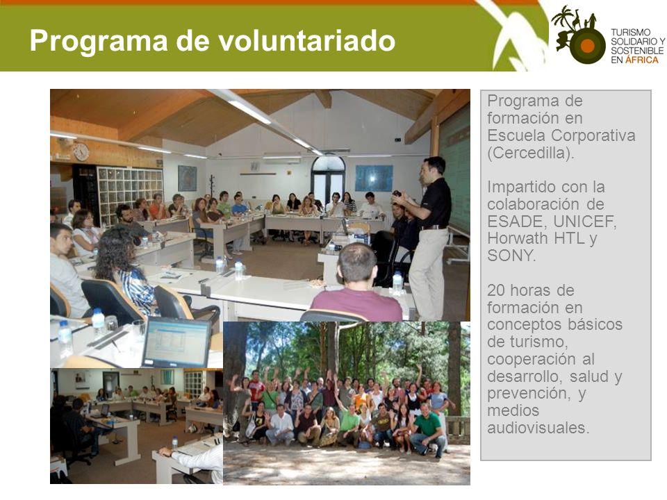 Programa de voluntariado Programa de formación en Escuela Corporativa (Cercedilla). Impartido con la colaboración de ESADE, UNICEF, Horwath HTL y SONY