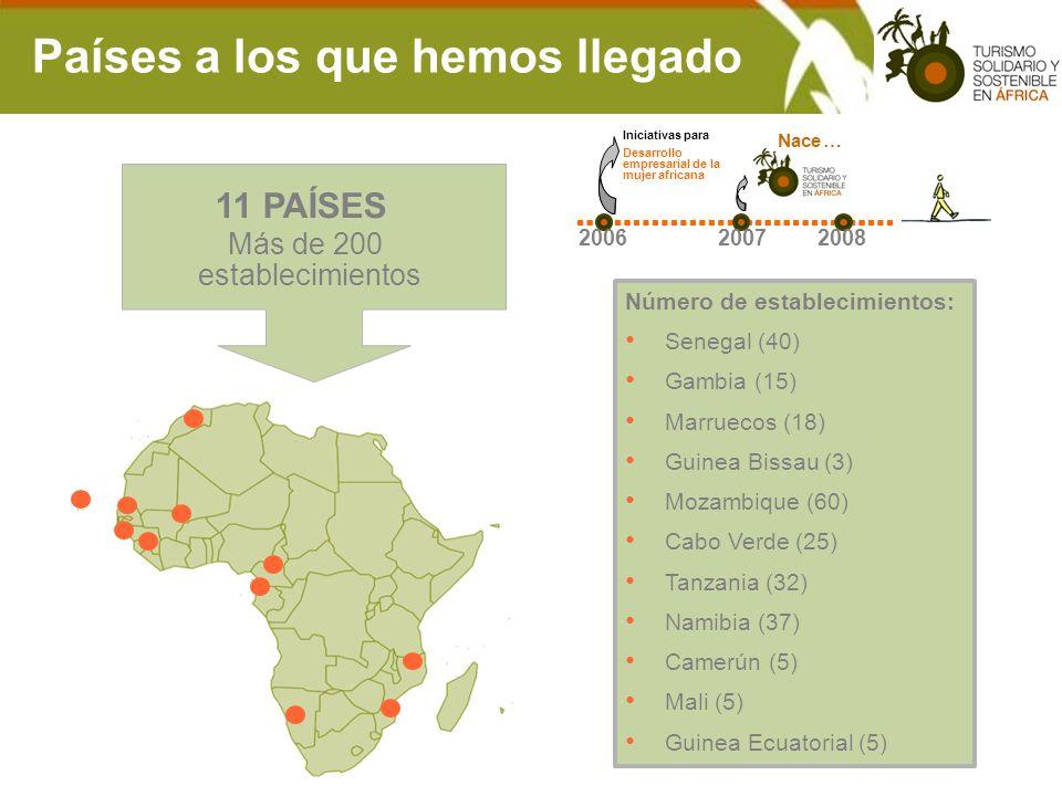 11 PAÍSES Número de establecimientos: Senegal (40) Gambia (15) Marruecos (18) Guinea Bissau (3) Mozambique (60) Cabo Verde (25) Tanzania (32) Namibia