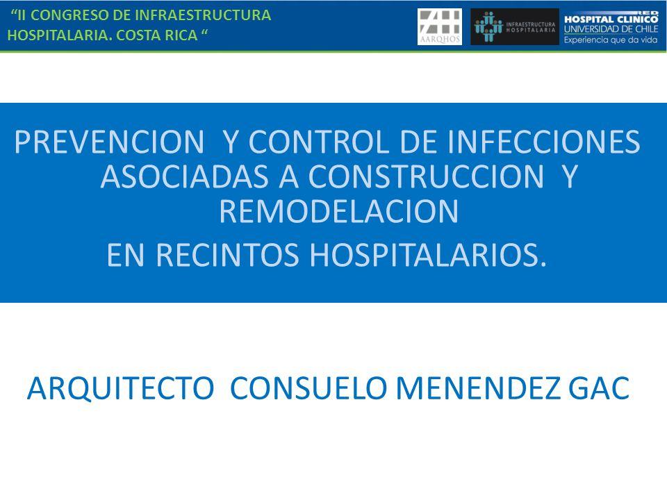 II CONGRESO DE INFRAESTRUCTURA HOSPITALARIA. COSTA RICA PREVENCION Y CONTROL DE INFECCIONES ASOCIADAS A CONSTRUCCION Y REMODELACION EN RECINTOS HOSPIT