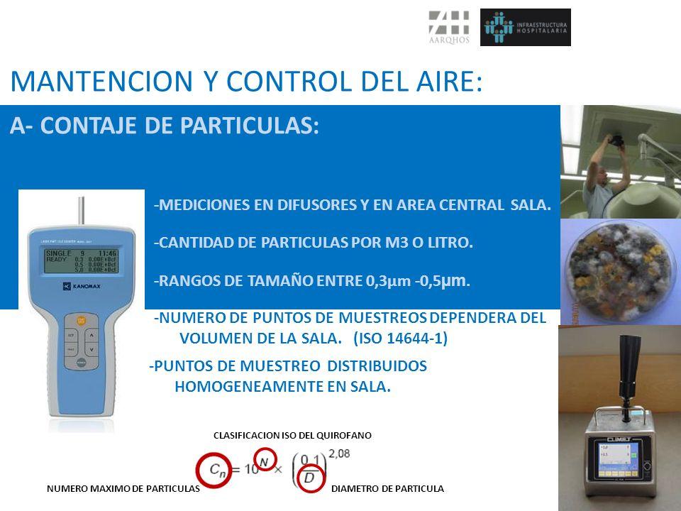 MANTENCION Y CONTROL DEL AIRE: A- CONTAJE DE PARTICULAS: -MEDICIONES EN DIFUSORES Y EN AREA CENTRAL SALA. -CANTIDAD DE PARTICULAS POR M3 O LITRO. -RAN