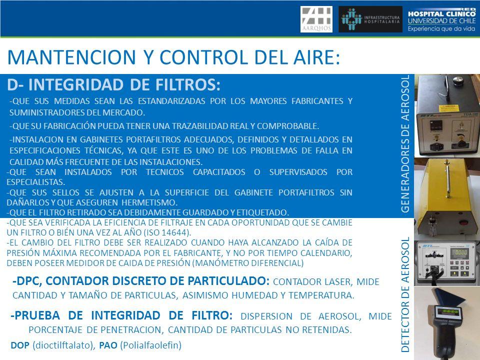 MANTENCION Y CONTROL DEL AIRE: D- INTEGRIDAD DE FILTROS: -QUE SUS MEDIDAS SEAN LAS ESTANDARIZADAS POR LOS MAYORES FABRICANTES Y SUMINISTRADORES DEL ME