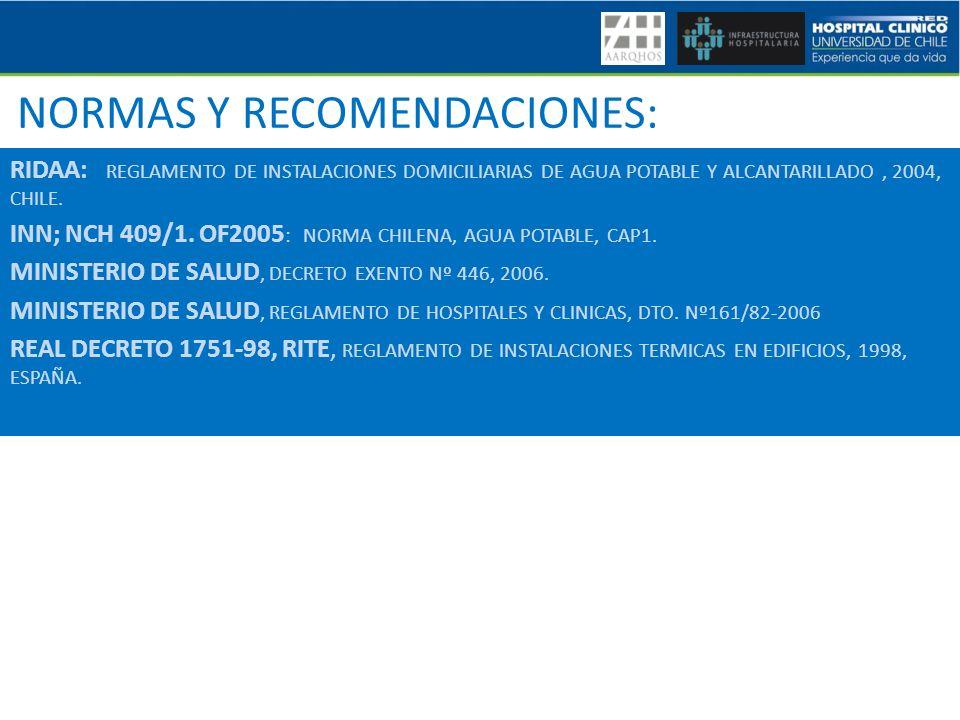 NORMAS Y RECOMENDACIONES: RIDAA: REGLAMENTO DE INSTALACIONES DOMICILIARIAS DE AGUA POTABLE Y ALCANTARILLADO, 2004, CHILE. INN; NCH 409/1. OF2005 : NOR