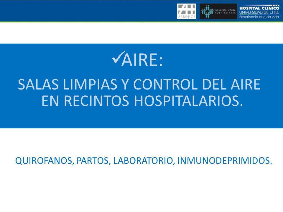 AIRE: SALAS LIMPIAS Y CONTROL DEL AIRE EN RECINTOS HOSPITALARIOS. QUIROFANOS, PARTOS, LABORATORIO, INMUNODEPRIMIDOS.