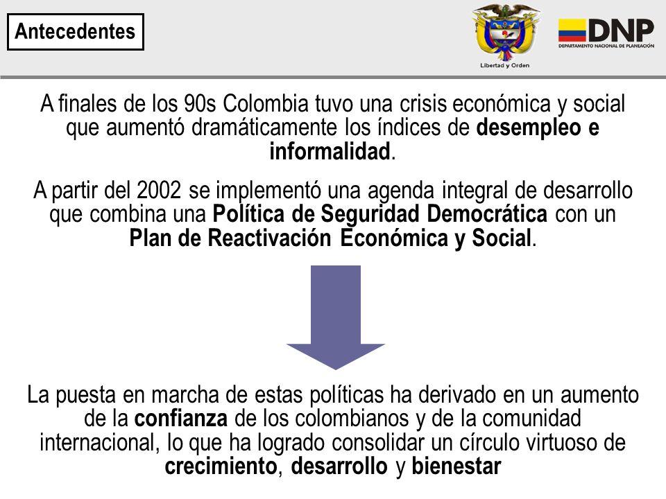 A finales de los 90s Colombia tuvo una crisis económica y social que aumentó dramáticamente los índices de desempleo e informalidad.