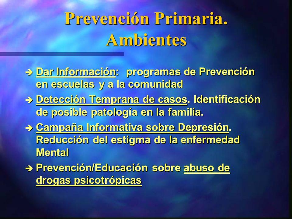 Prevención Primaria. Ambientes è Dar Información: programas de Prevención en escuelas y a la comunidad è Detección Temprana de casos. Identificación d