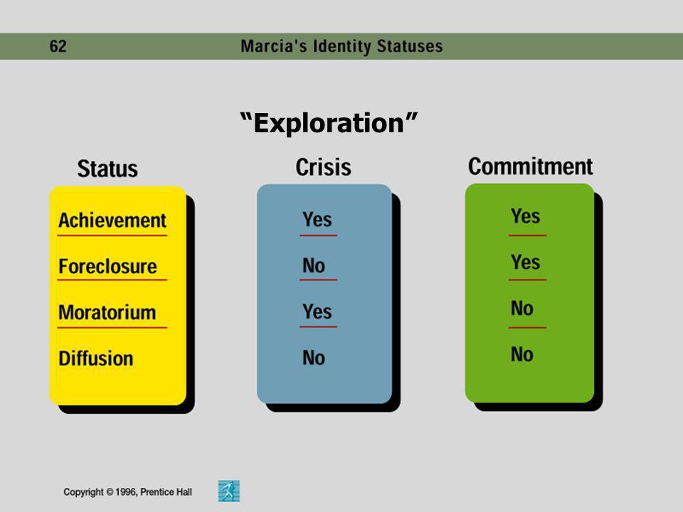 3)DIFUSIÓN DE LA IDENTIDAD: No se comprometen ni buscan alternativas; tienden a ser superficiales y cambian de una a otra identidad. 4)MORATORIA: Aún