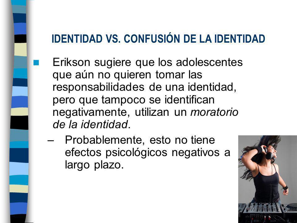 IDENTIDAD VS. CONFUSIÓN DE LA IDENTIDAD Aquellos que no logran encontrar una identidad adecuada para ellos, tienen a seguir un camino disfuncional por