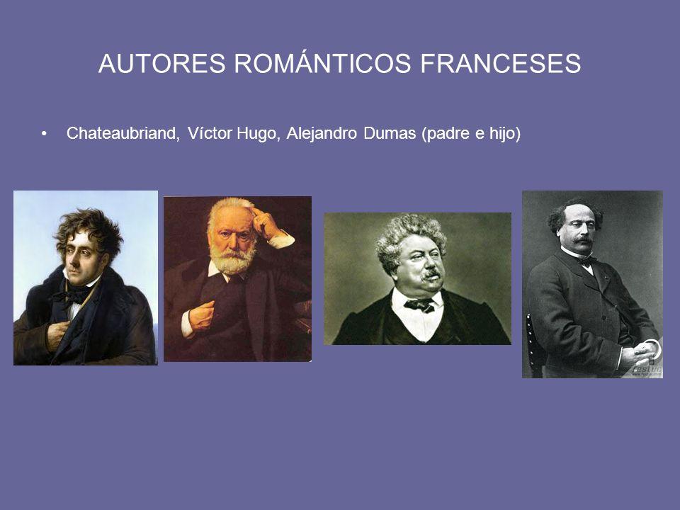 AUTORES ROMÁNTICOS FRANCESES Chateaubriand, Víctor Hugo, Alejandro Dumas (padre e hijo)