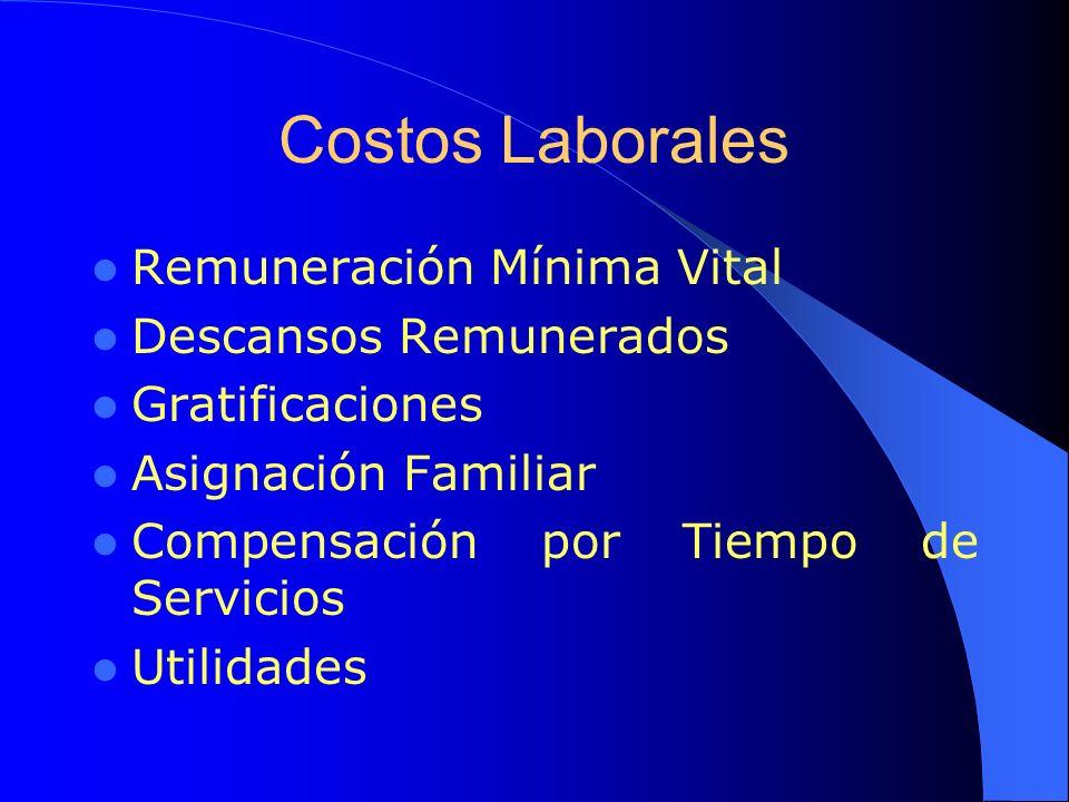 Costos Laborales Remuneración Mínima Vital Descansos Remunerados Gratificaciones Asignación Familiar Compensación por Tiempo de Servicios Utilidades