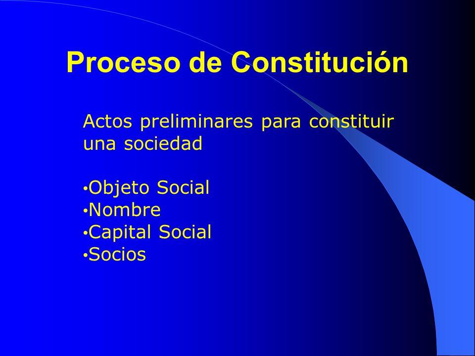 Proceso de Constitución Actos preliminares para constituir una sociedad Objeto Social Nombre Capital Social Socios