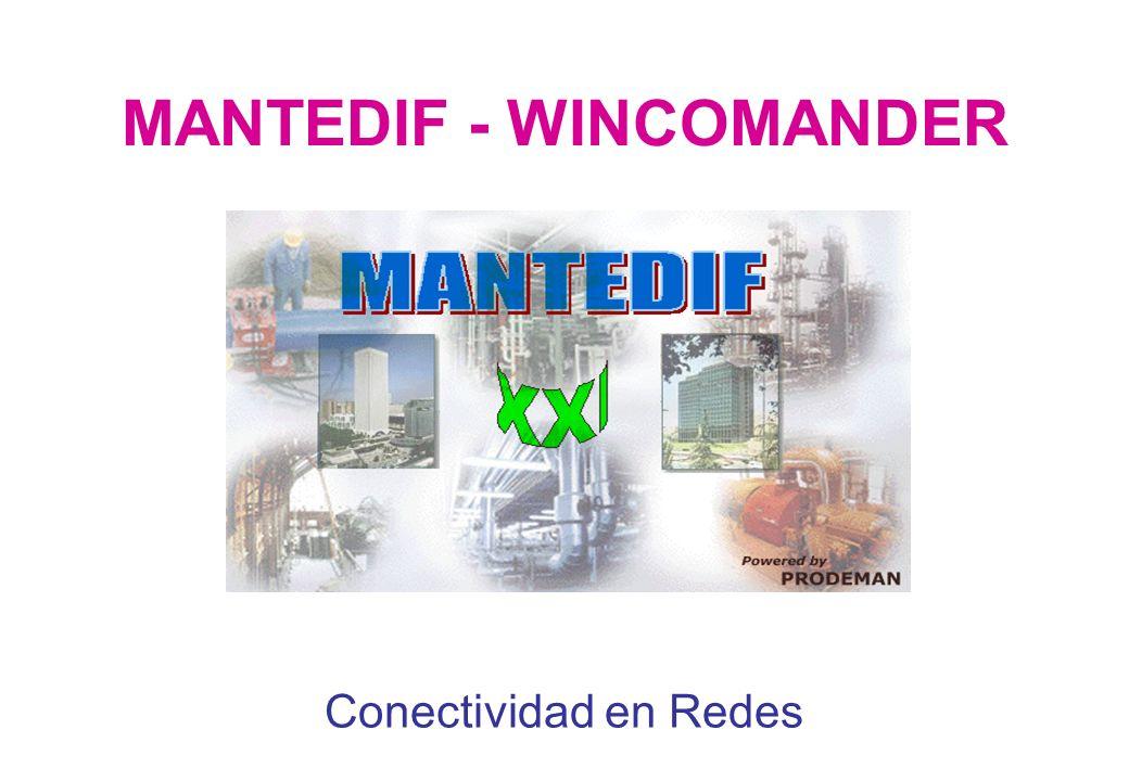 CONECTIVIDAD EN REDES DE MANTEDIF - WINCOMANDER El Programa para la Gestión del Mantenimiento de Edificios MANTEDIF, puede funcionar en una Intranet corporativa, según el siguiente esquema: Servidor La(s) Base(s) de Datos reside(n) en una carpeta compartida del Servidor.