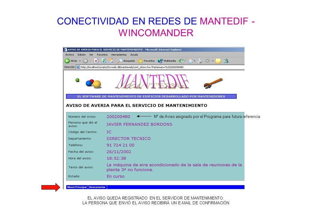CONECTIVIDAD EN REDES DE MANTEDIF - WINCOMANDER Nº de Aviso asignado por el Programa para futura referencia EL AVISO QUEDA REGISTRADO EN EL SERVIDOR D