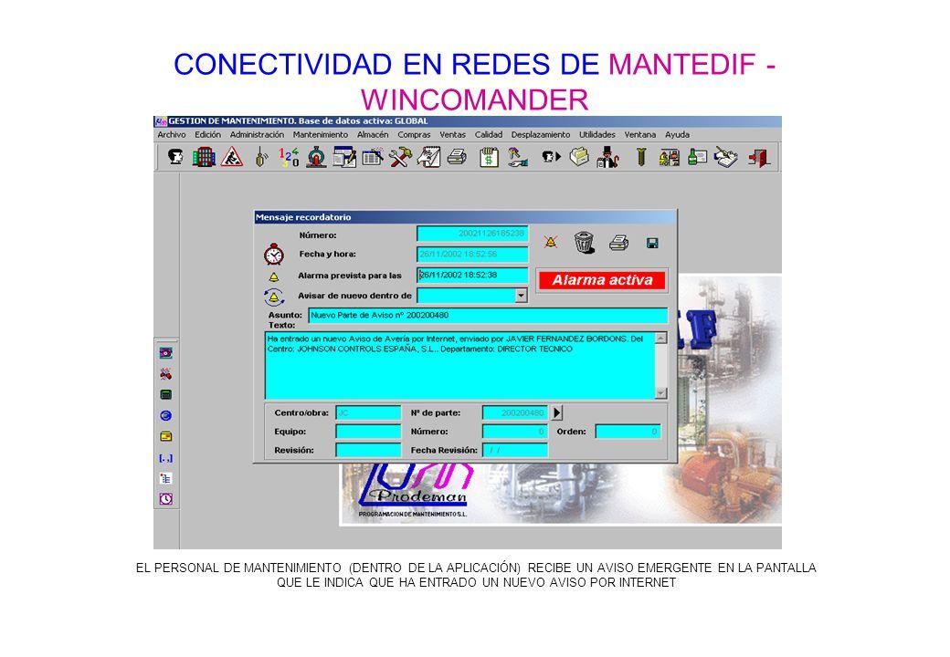 CONECTIVIDAD EN REDES DE MANTEDIF - WINCOMANDER EL PERSONAL DE MANTENIMIENTO (DENTRO DE LA APLICACIÓN) RECIBE UN AVISO EMERGENTE EN LA PANTALLA QUE LE