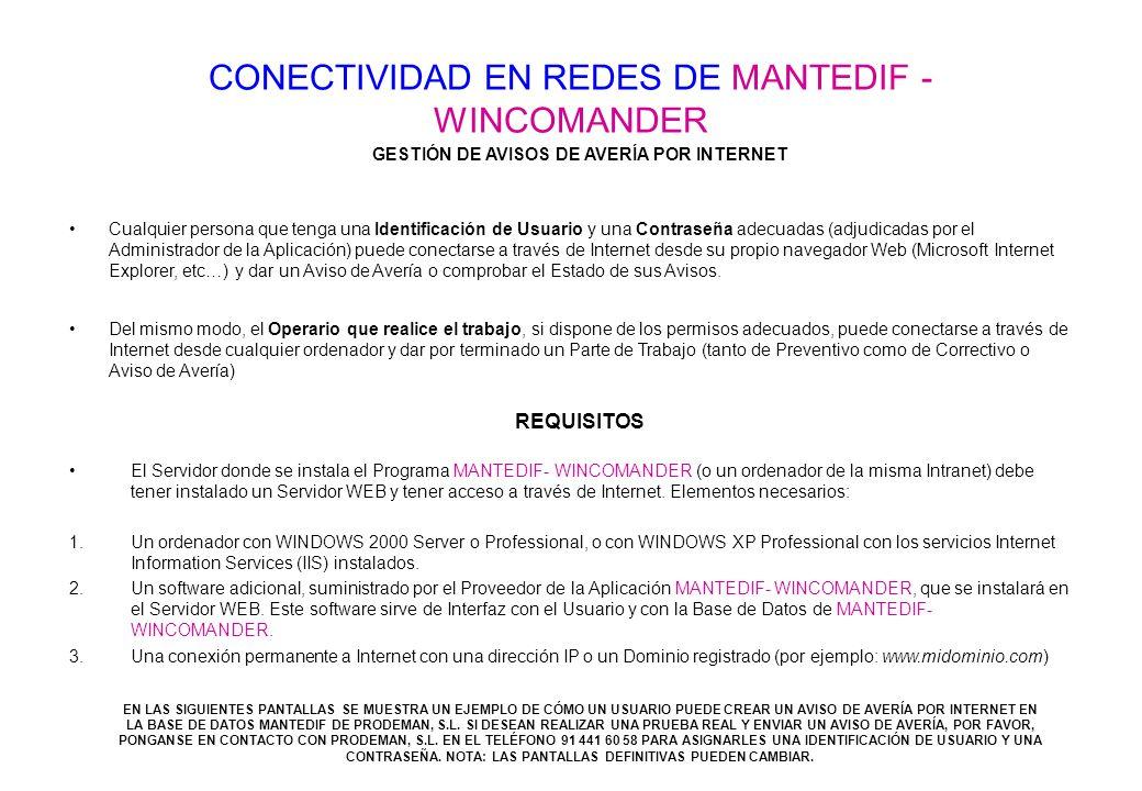 CONECTIVIDAD EN REDES DE MANTEDIF - WINCOMANDER Microsof Internet Explorer