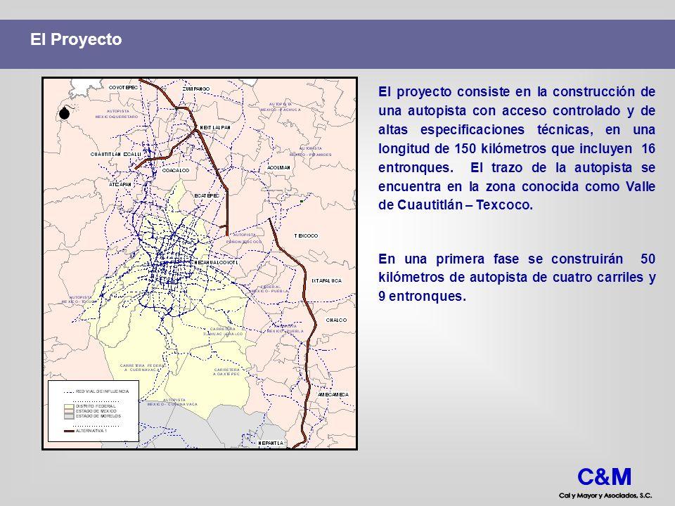 Importancia Regional del Proyecto El proyecto conecta directamente cinco corredores de acceso al Área Metropolitana de la Ciudad de México que en conjunto representan cerca de 140,000 vehículos que entran y/o salen del AMCM desde o hacia otras regiones del país.