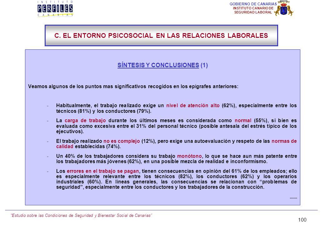 Estudio sobre las Condiciones de Seguridad y Bienestar Social de Canarias 99 GOBIERNO DE CANARIAS INSTITUTO CANARIO DE SEGURIDAD LABORAL C.11.) POSIBI