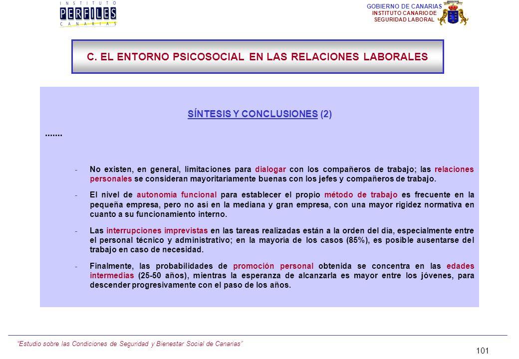 Estudio sobre las Condiciones de Seguridad y Bienestar Social de Canarias 100 GOBIERNO DE CANARIAS INSTITUTO CANARIO DE SEGURIDAD LABORAL SÍNTESIS Y C