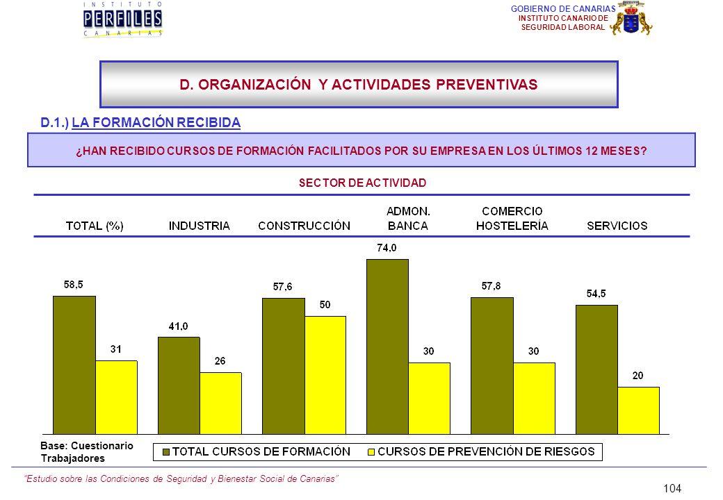Estudio sobre las Condiciones de Seguridad y Bienestar Social de Canarias 103 GOBIERNO DE CANARIAS INSTITUTO CANARIO DE SEGURIDAD LABORAL D.1.) LA FOR