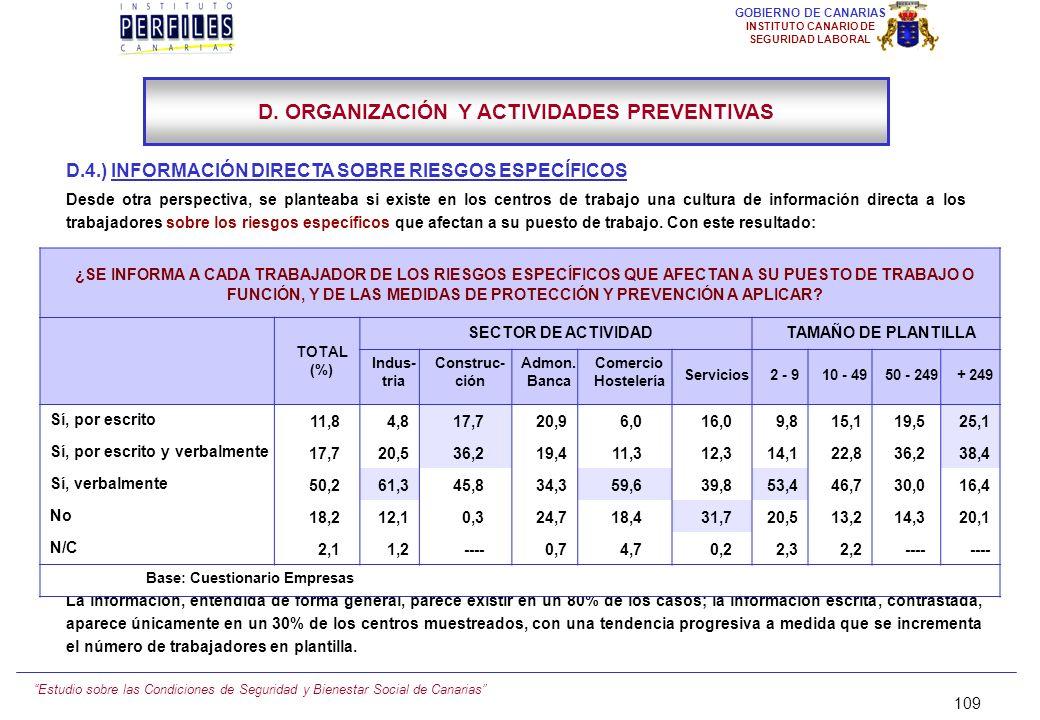 Estudio sobre las Condiciones de Seguridad y Bienestar Social de Canarias 108 GOBIERNO DE CANARIAS INSTITUTO CANARIO DE SEGURIDAD LABORAL D.3.) RECEPC