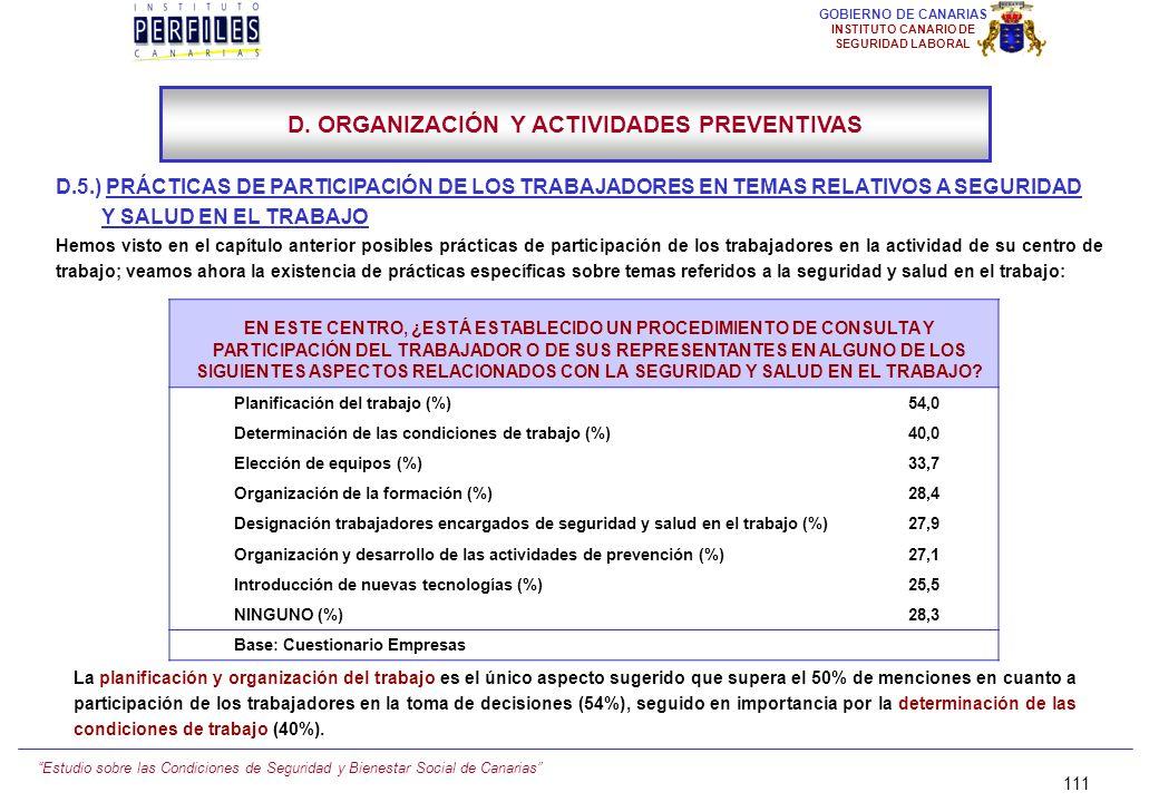 Estudio sobre las Condiciones de Seguridad y Bienestar Social de Canarias 110 GOBIERNO DE CANARIAS INSTITUTO CANARIO DE SEGURIDAD LABORAL D.4.) INFORM