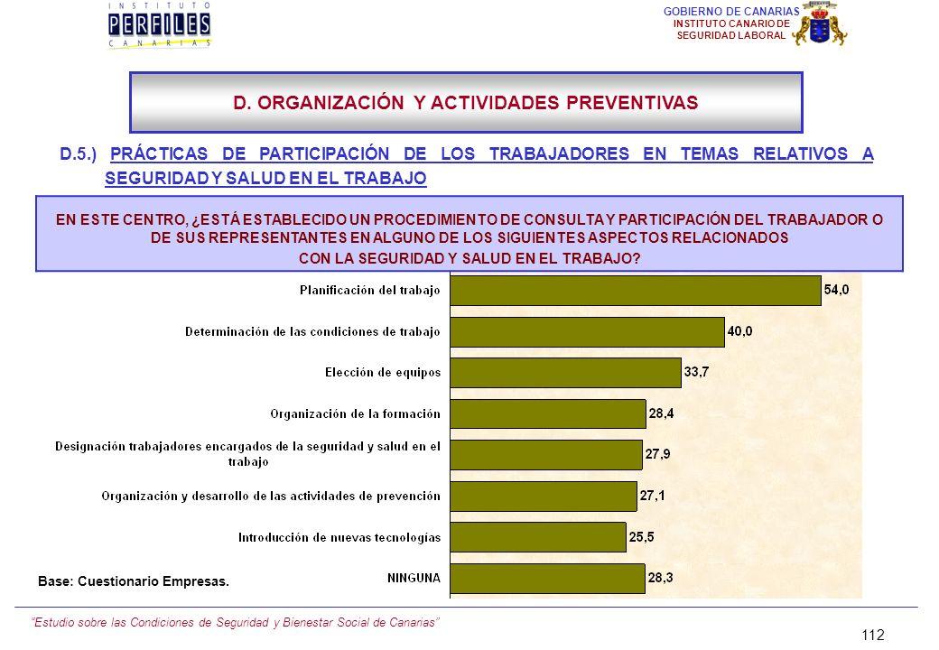 Estudio sobre las Condiciones de Seguridad y Bienestar Social de Canarias 111 GOBIERNO DE CANARIAS INSTITUTO CANARIO DE SEGURIDAD LABORAL D.5.) PRÁCTI