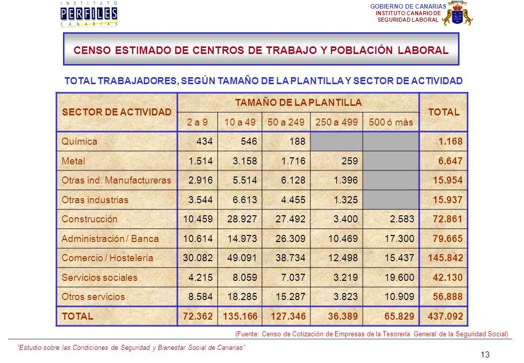 Estudio sobre las Condiciones de Seguridad y Bienestar Social de Canarias 12 GOBIERNO DE CANARIAS INSTITUTO CANARIO DE SEGURIDAD LABORAL SECTOR DE ACT