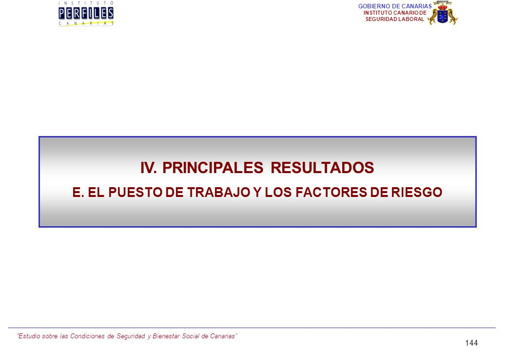 Estudio sobre las Condiciones de Seguridad y Bienestar Social de Canarias 143 GOBIERNO DE CANARIAS INSTITUTO CANARIO DE SEGURIDAD LABORAL SÍNTESIS Y C