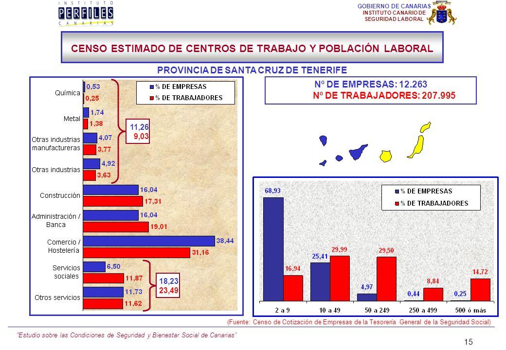 Estudio sobre las Condiciones de Seguridad y Bienestar Social de Canarias 14 GOBIERNO DE CANARIAS INSTITUTO CANARIO DE SEGURIDAD LABORAL Nº DE EMPRESA