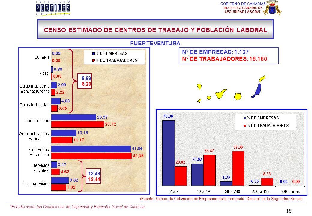 Estudio sobre las Condiciones de Seguridad y Bienestar Social de Canarias 17 GOBIERNO DE CANARIAS INSTITUTO CANARIO DE SEGURIDAD LABORAL Nº DE EMPRESA