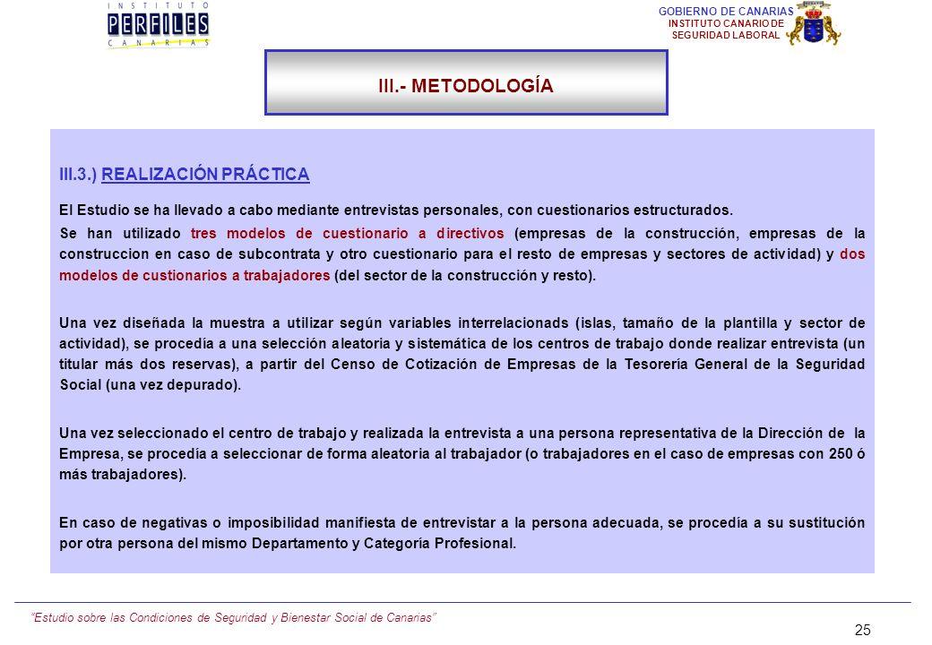 Estudio sobre las Condiciones de Seguridad y Bienestar Social de Canarias 24 GOBIERNO DE CANARIAS INSTITUTO CANARIO DE SEGURIDAD LABORAL III.- METODOL