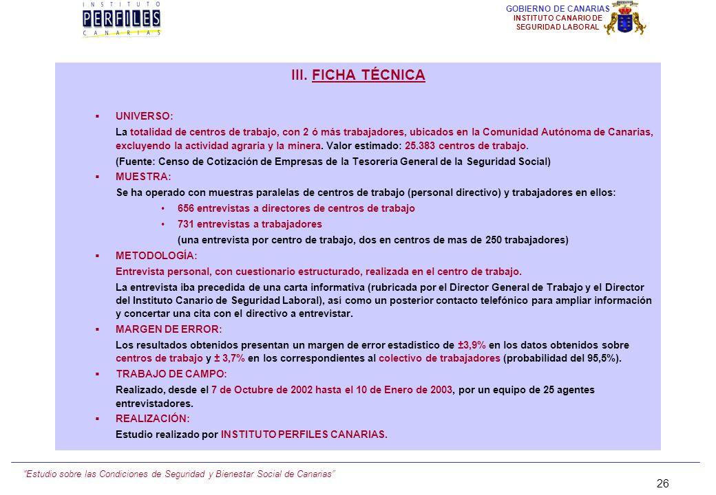 Estudio sobre las Condiciones de Seguridad y Bienestar Social de Canarias 25 GOBIERNO DE CANARIAS INSTITUTO CANARIO DE SEGURIDAD LABORAL III.- METODOL