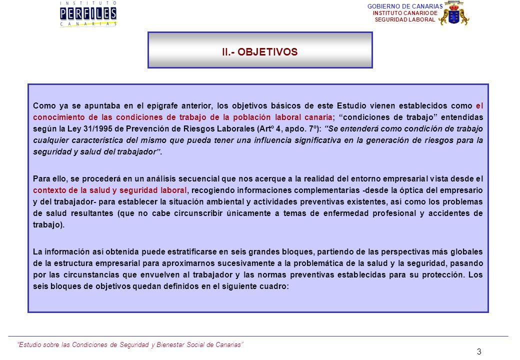 Estudio sobre las Condiciones de Seguridad y Bienestar Social de Canarias 23 GOBIERNO DE CANARIAS INSTITUTO CANARIO DE SEGURIDAD LABORAL III.- METODOLOGÍA III.2.) TAMAÑO MUESTRAL (1) Hemos operado con dos muestras paralelas de empresarios y trabajadores, atendiendo a optimizar su representatividad a nivel insular, tamaño de la plantilla y sector de actividad.