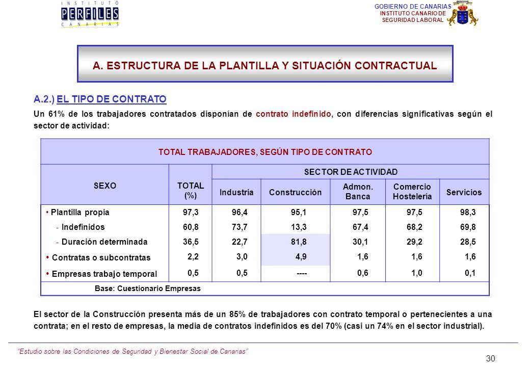 Estudio sobre las Condiciones de Seguridad y Bienestar Social de Canarias 29 GOBIERNO DE CANARIAS INSTITUTO CANARIO DE SEGURIDAD LABORAL 29 A. ESTRUCT
