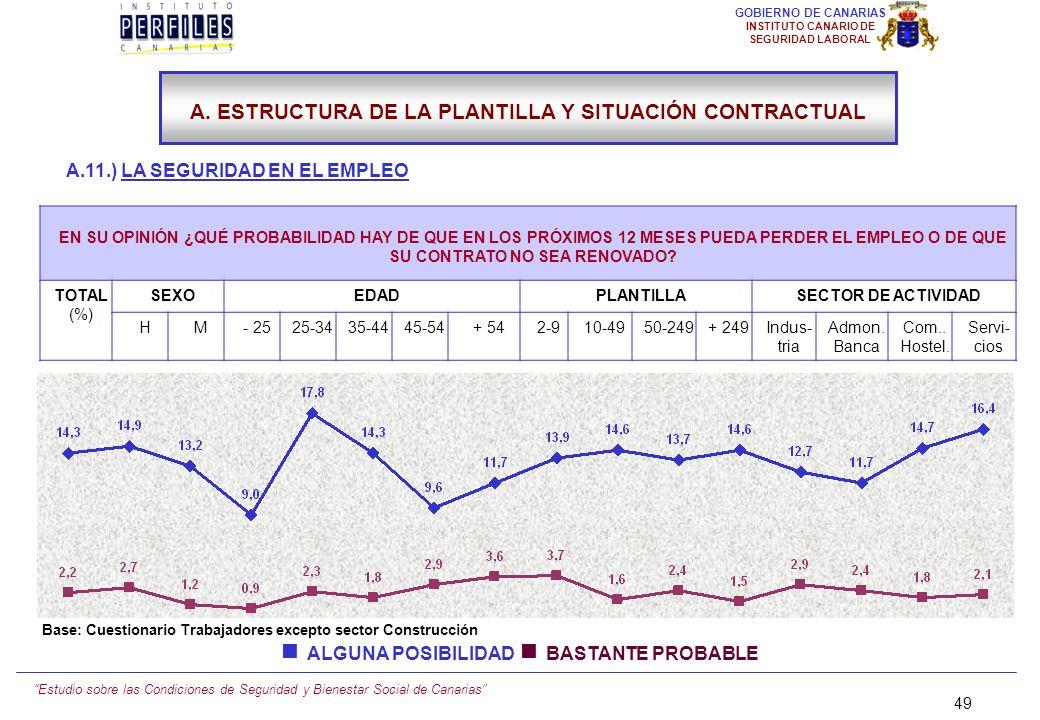 Estudio sobre las Condiciones de Seguridad y Bienestar Social de Canarias 48 GOBIERNO DE CANARIAS INSTITUTO CANARIO DE SEGURIDAD LABORAL A.11.) LA SEG