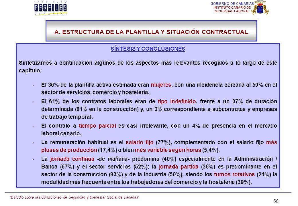 Estudio sobre las Condiciones de Seguridad y Bienestar Social de Canarias 49 GOBIERNO DE CANARIAS INSTITUTO CANARIO DE SEGURIDAD LABORAL EN SU OPINIÓN