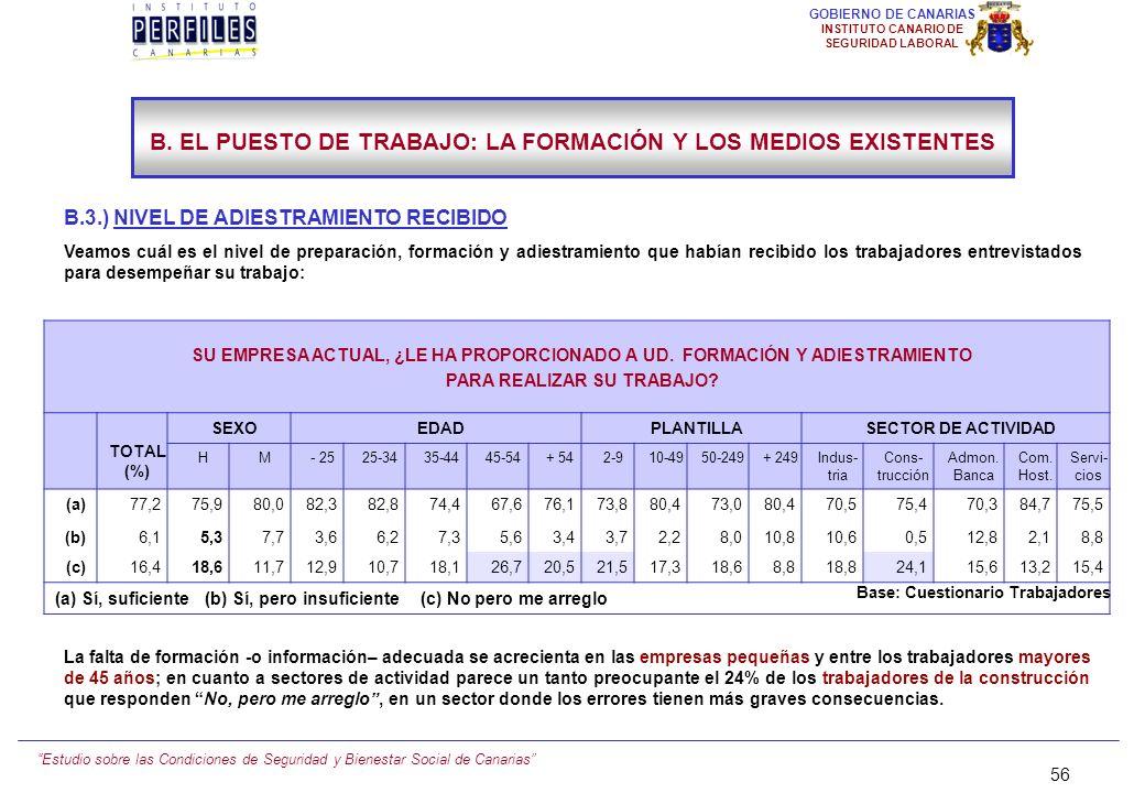 Estudio sobre las Condiciones de Seguridad y Bienestar Social de Canarias 55 GOBIERNO DE CANARIAS INSTITUTO CANARIO DE SEGURIDAD LABORAL B. EL PUESTO