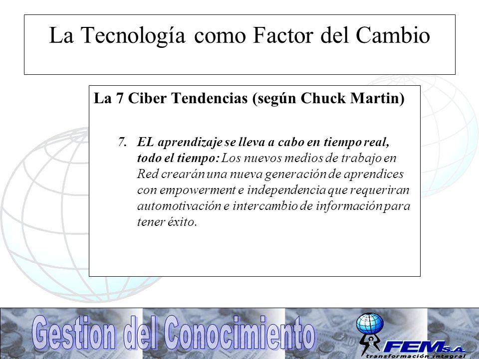 La Tecnología como Factor del Cambio La 7 Ciber Tendencias (según Chuck Martin) 7.EL aprendizaje se lleva a cabo en tiempo real, todo el tiempo: Los n